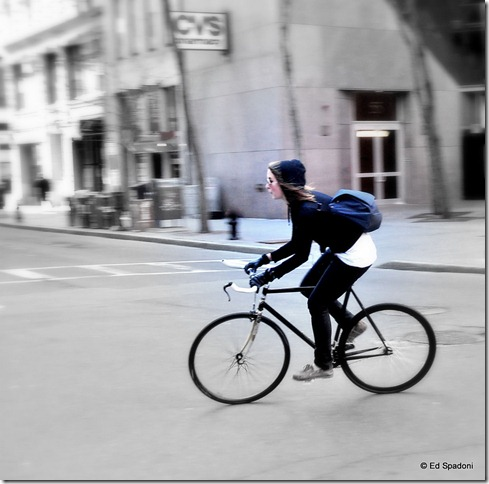 Bicyclist in Boston