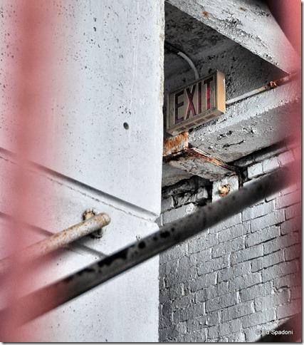 Exit sign in Boston parking garage