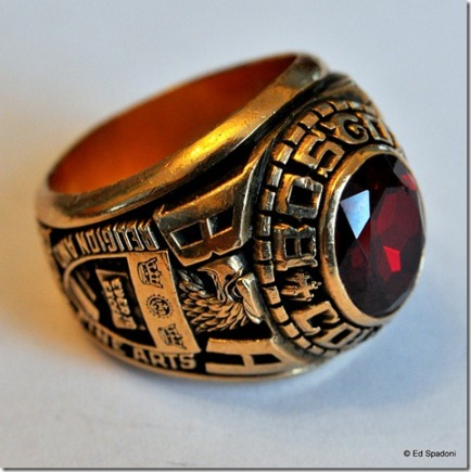 College ring, close-up