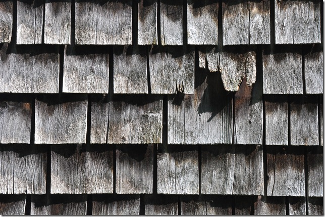 grey shingles on barn side lit for texture
