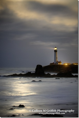 Pigeon Point Lighthouse Full Moon by Colleen Griffiths