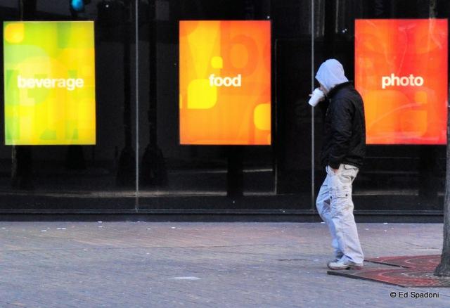 "My version of ""Eat, Pray, Love"". street scene, Boston"