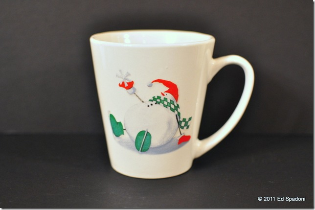 white cup, black background with exposure compensation plus 1 EV