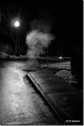 night street scene with smoke