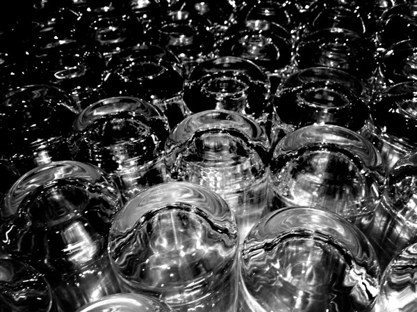 Crystal glassware in black aand white, B&W