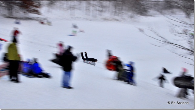 panning a sledder down hill, 1/15 second