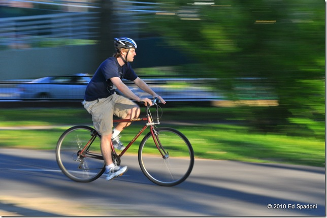 Panning a bicyclist in the park