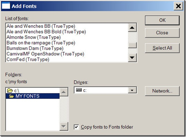 Add fonts dialog box