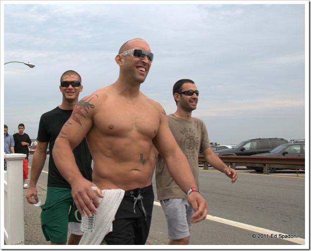 Men walking along the boardwalk