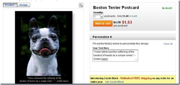 Kara's Boston Terrier Post card