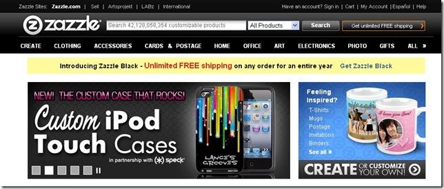 zazzle.com home page