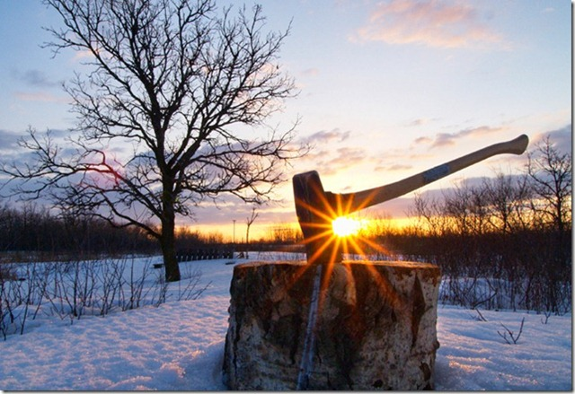 The axe & the oak... this was one of the first shots for my Understanding Exposure class at PPSOP.  The assignment was to create a story telling image taken during the golden hour at sunrise or sunset. Not so easily done in January in Manitoba... it was an incredibly frigid morning & the sun took forever to rise above the horizon, but so very worth it when it did!  Shot at 12mm, F22, 1/30s at ISO 400 using a tripod