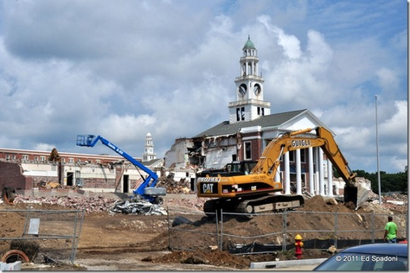 Demolition of Old Norwood High with New Norwood High in the background