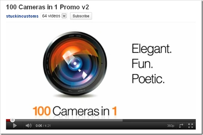 Link to YouTube video on 100 Cameras in 1