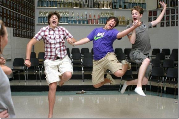 Pearl high School guys jumping