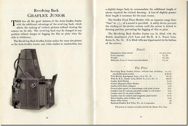 Auto Graflex Junior Camera Catalog