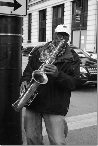 Saxaphone player in Chicago by Rodney Daly