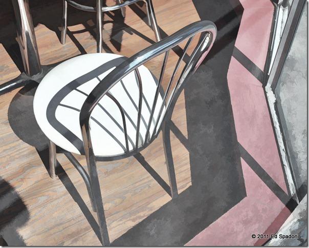 Chair in the window of the Mystic Drawbridge Ice Cream cafe