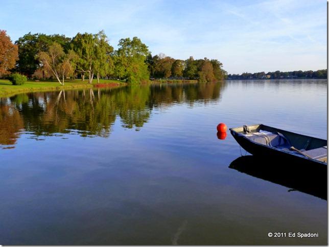 A boat on a still lake
