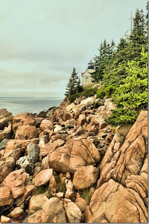 Bass Head Lighthouse in the fog, Mt. Dessert Island, Maine in HDR