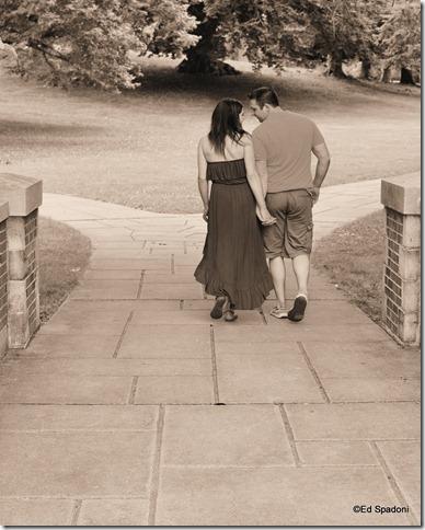 Amy and Jacob, path, engagement, sepia, 2 guys photo, ed spadoni