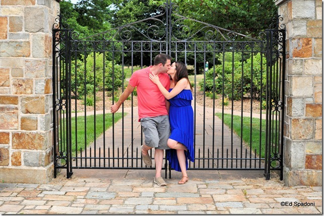 Amy and Jacob, gate, kiss, engagement, 2 guys photo, ed spadoni