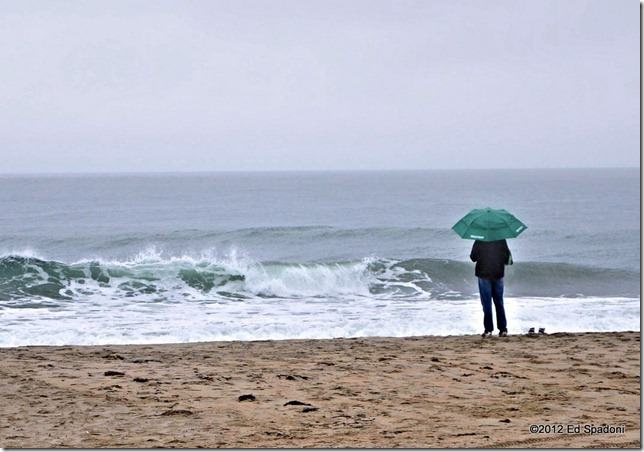 beach, sea, sand, fog, rain, umbrella, 2 guys photo