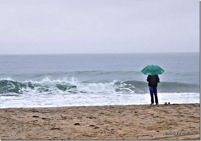 beach, sea, sand, fog, rain, umbrella, 2 guys photo