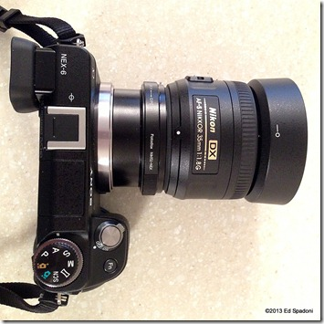 Fotodiox adapter, NEX 6, Nikon 35mm prime lens