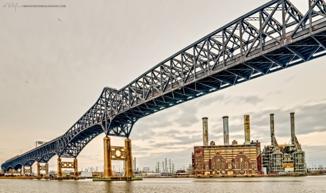 An ongoing project of mine is to shoot the prominent bridges of the North East, particularly, New Jersey.  I found the perfect spot to shoot this historical bridge on Duncan Ave in Jersey City.  The bridge is over 3 miles long, so I could only capture a portion from this vantage point.  The factory prominently displayed is the Kearny Power Plant.  The area is an industrial photographer's dream.