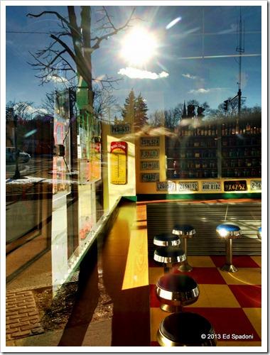 iphone, restaurant, reflection, color, Newton MA, retro, winter