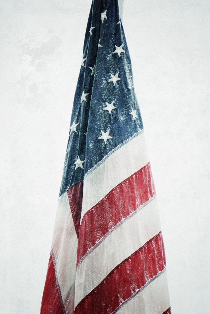 american, flag, snow