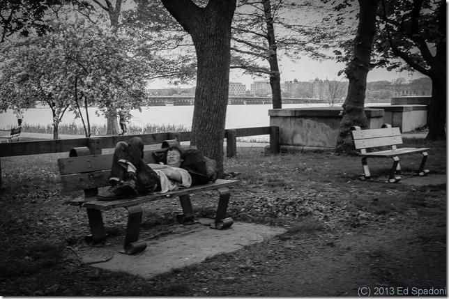 man, bench, park, sleeping, homeless
