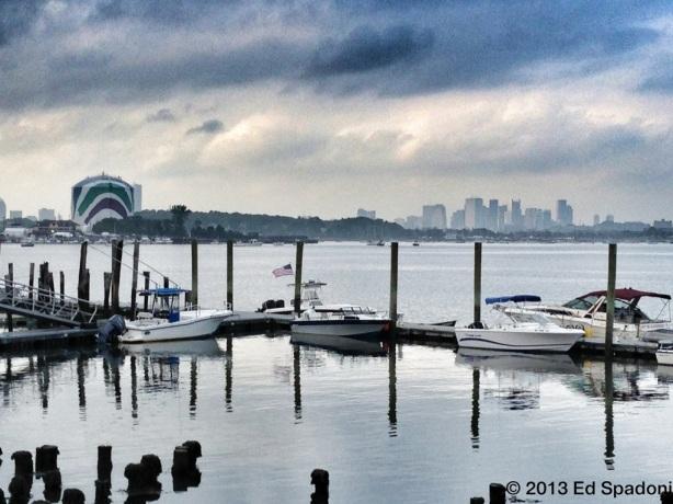 city, skyline, boston, clouds, horizon